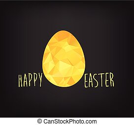 Happy Easter greeting card in low poly triangle style. Flat design polygon of golden easter egg isolated on black background