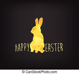 Happy Easter greeting card in low poly triangle style. Flat design polygon of golden easter bunny isolated on black background