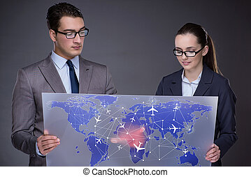 Air transportation concept with business people