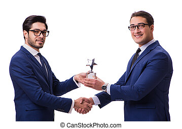 Businessman receiving award isolated on white