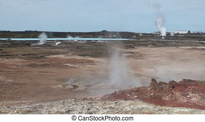 Geysers on shores of Arctic Ocean in Greenland. Wilderness....