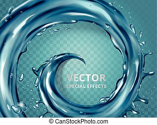 Water or blue liquid whirl effect, 3d illustration isolated...