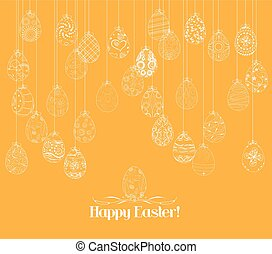 Hanging easter eggs ornament card