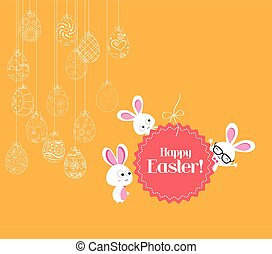Hanging easter eggs ornament with bunny card