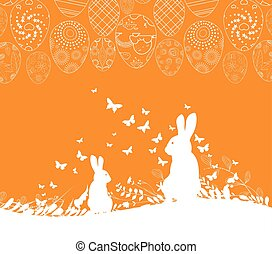 Easter greeting card with rabbit ornamental eggs background