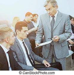 同事, 他的, 事務, 會議, 工作,  -, 經理, 討論