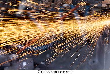 welding sparks closeup