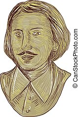 Christopher Marlowe Bust Drawing - Drawing sketch style...