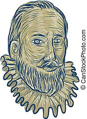 Sir Walter Raleigh Bust Drawing - Drawing sketch style...