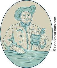 Gentleman Beer Drinker Tankard Oval Drawing - Drawing sketch...