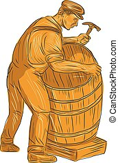 Cooper Making Wooden Barrel Drawing - Drawing sketch style...