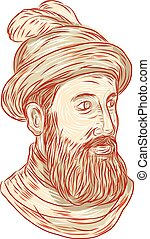 Francisco Pizarro Drawing - Drawing sketch sytle...
