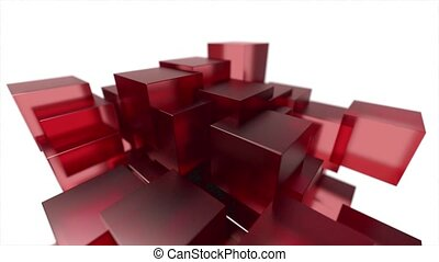 Glass blocks cubes floating interlocking abstract tech motion background loop