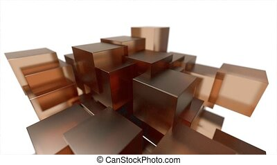 Glass blocks cubes floating interlocking abstract tech motion background loop 4k