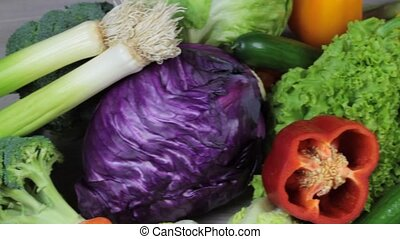 Fresh colorful vegetables macro video