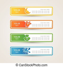 Sticker Label with nature icons set