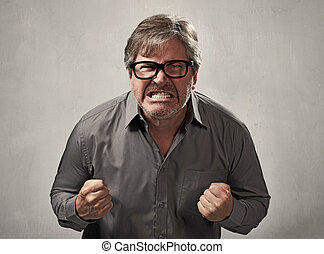 Angry man. - Angry fury man portrait. People face...