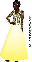 BlackWomanPinkGown - Vector Illustration of a black woman...