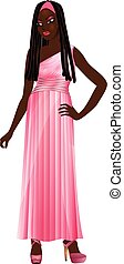 BlackWomanPinkGown - Vector Illustration of Asian woman with...