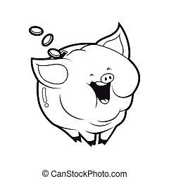 piggybank character black and white