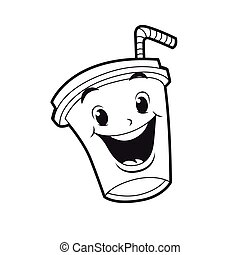 soft drink character black and white