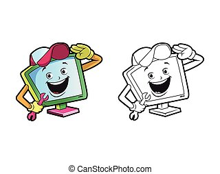 computer technician character coloring pages