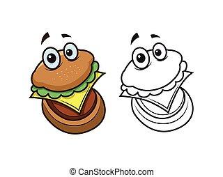 hamburger character coloring pages