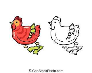 broken chicken bank character coloring pages