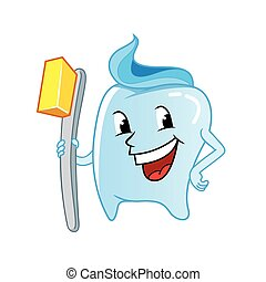 tooth character with toothbrush