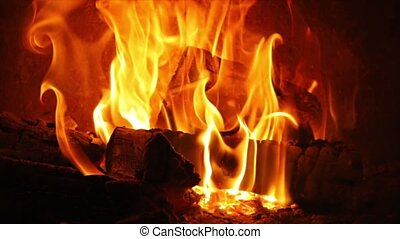 Flames of a fireplace - Burning fire long slow motion clip...