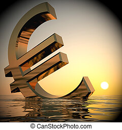 Euro Sinking And Sunset Showing Depression Recession 3d Rendering