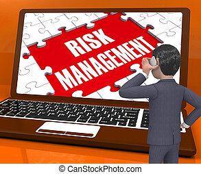 Risk Management On Laptop Showing Analysis 3d Rendering