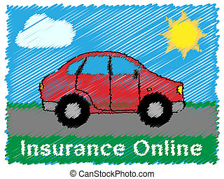 Insurance Online Means Car Policy 3d Illustration -...