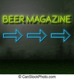 Beer Magazine Sign Shows Lager Or Ale Media