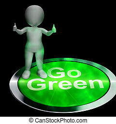 Go Green Button Showing Recycling 3d Rendering