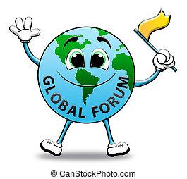 Global Forum Means Social Media 3d Illustration - Global...