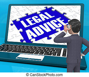 Legal Advice On Laptop Shows Justice 3d Rendering
