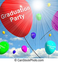 Graduation Balloons Showing School College 3d Rendering