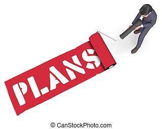 Plans Paint Indicates Aspire Goals 3d Rendering - Plans...
