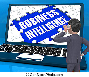 Business Intelligence On Laptop Showing Collecting...