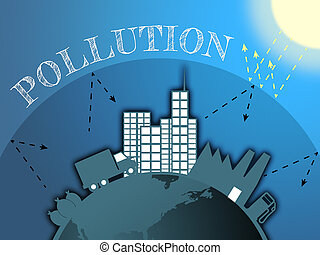 Air Pollution Means Dirty Atmosphere 3d Illustration - Air...