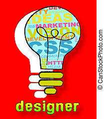 Designer Lightbulb Showing Digital Art 3d Illustration -...