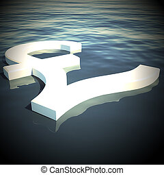 Pound Floating Showing Money Wealth 3d Rendering