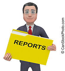 Reports Folder Represent Reported Information 3d Rendering -...