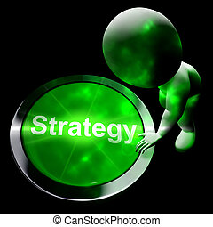 Strategy Button Shows Business Solution 3d Rendering