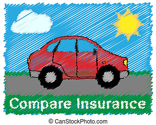 Compare Insurance Means Car Policy 3d Illustration - Compare...
