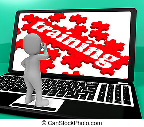 Training Puzzle On Notebook Shows Webinars 3d Rendering