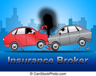 Insurance Broker Shows Car Policy 3d Illustration -...
