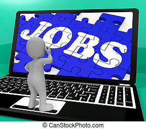 Jobs Puzzle On Notebook Shows Applications 3d Rendering -...