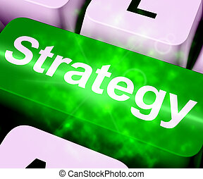 Strategy Computer Key For Business Solutions 3d Rendering